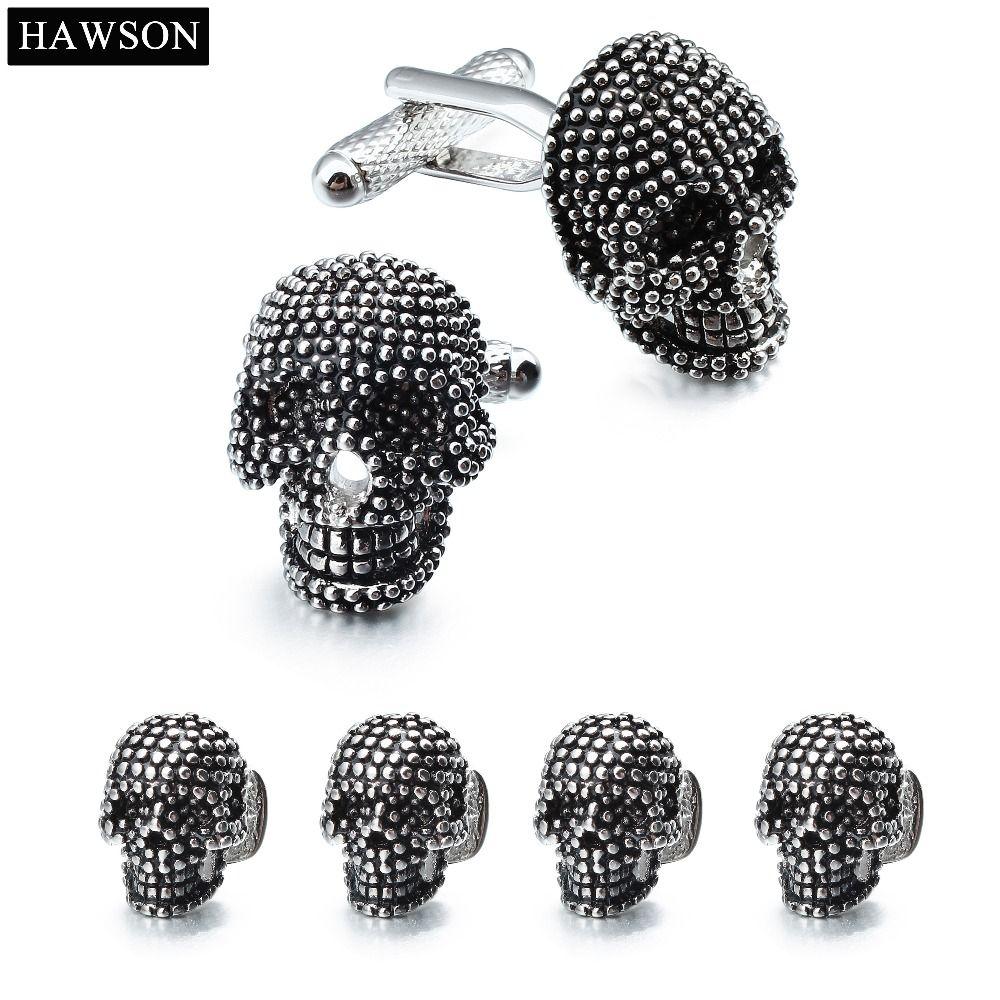 HAWSON mode crâne boutons de manchette et clous ensemble pour smoking hommes accessoire fête
