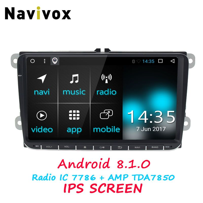 Navivox 9inch 2 din For vw dvd android Android 8.1.0 RAM2G ROM 32 multimedia android car radio android For vw 2007-2012