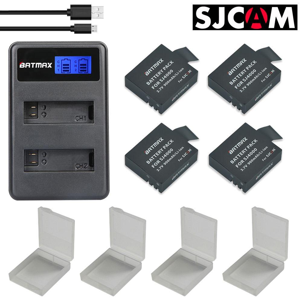 4X SJCAM Sj4000 Batterie + USB LCD Double Chargeur pour SJCAM SJ4000 SJ5000 SJ6000 SJ8000 EKEN 4 K H8 H9 GIT-LB101 GIT PG900 1050