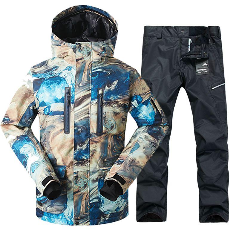 2018 GSOU SCHNEE Männer Skianzug Winddicht Wasserdichte Outdoor-Sport Tragen Winter Jacke Hose Skifahren Snowboard Kleidung Hosenanzug