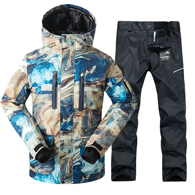 2018 GSOU SNOW Men Ski Suit Windproof Waterproof Outdoor Sport Wear Winter Jacket Pant Skiing Snowboard Clothing Trouser Suit