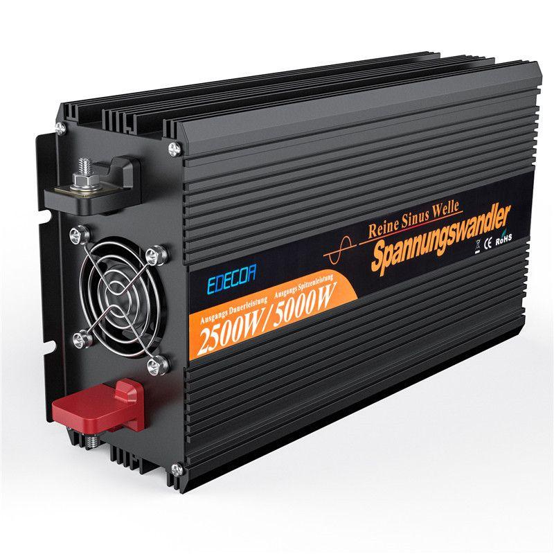 EDECOA free 2500W power inverter with remote controller off grid pure sine wave solar12V to 220V 230V 240V