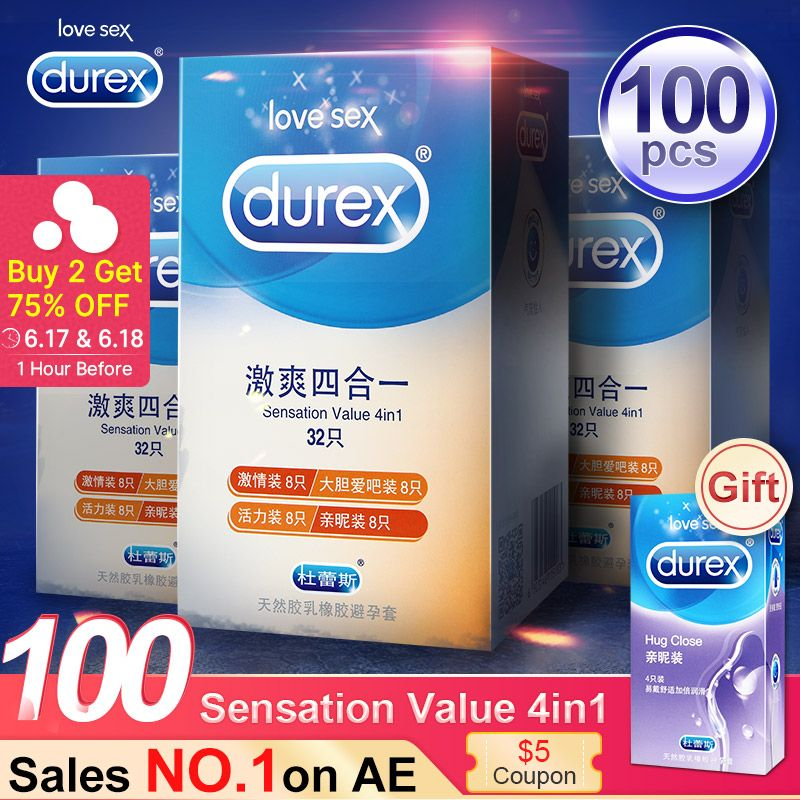 Durex Condom 100pcs 4 Types Ultra Thin Cock Condom Intimate Goods Sex Products Natural Rubber Latex Penis Sleeve Sex For Men