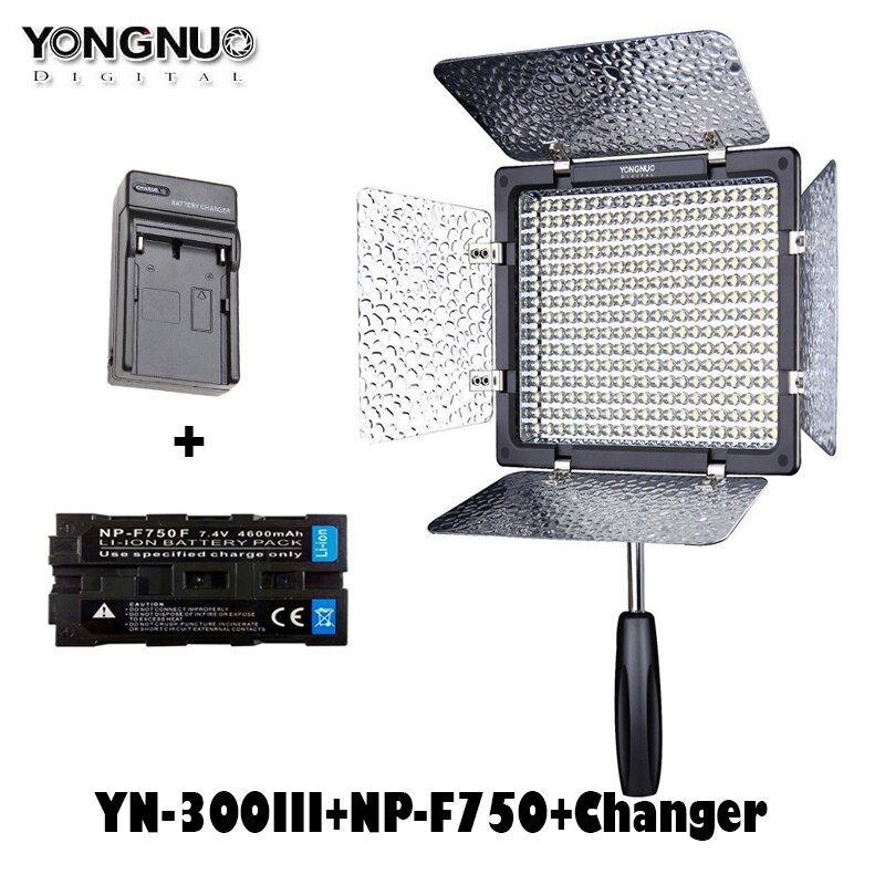 Yongnuo LED Video Light YN300III YN300 lIl 3200k-5500K CRI95 On Camera Lighting for Wedding with NP-F750 Battery and Charger