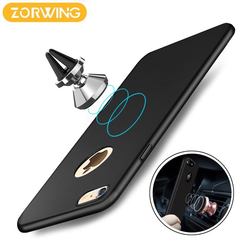 2017 Cas De Couverture Pour l'iphone 6 6 s Plus Pleine Protection PC dur cas Pour iPhone 7 7 Plus Construit dans Magnétique Support De Voiture En Métal plaque