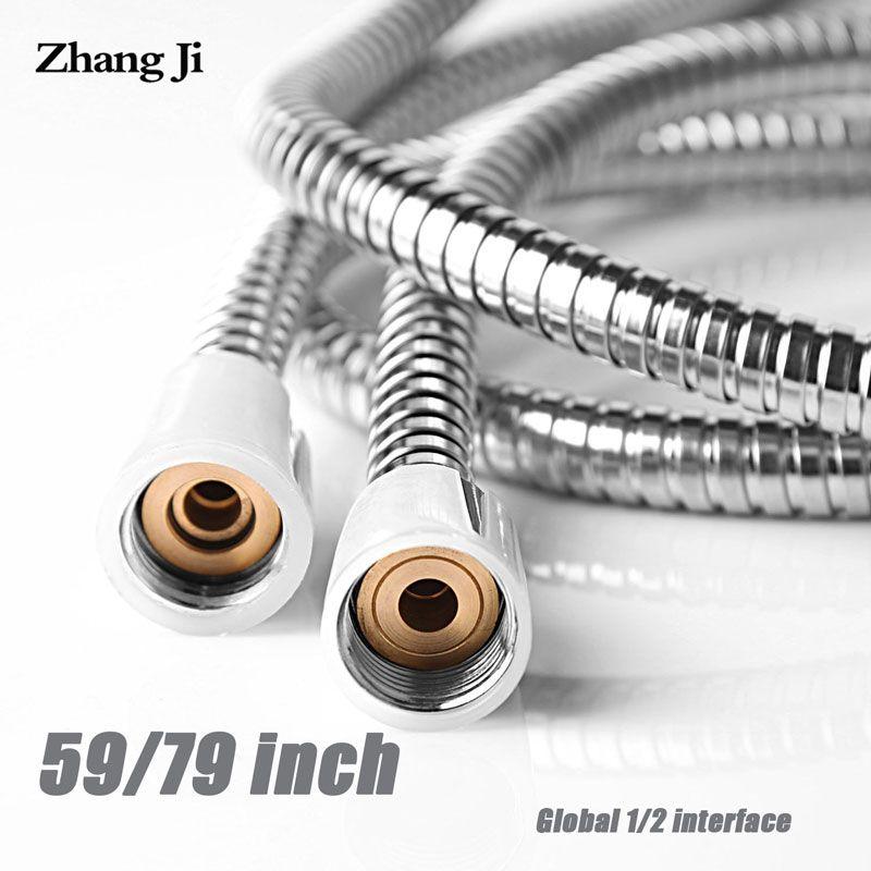 Zhangji accessoires de salle de bain en acier inoxydable tuyau d'eau Flexible 1.5 m & 2 m pluie tuyau de douche commun Chrome tuyau de douche