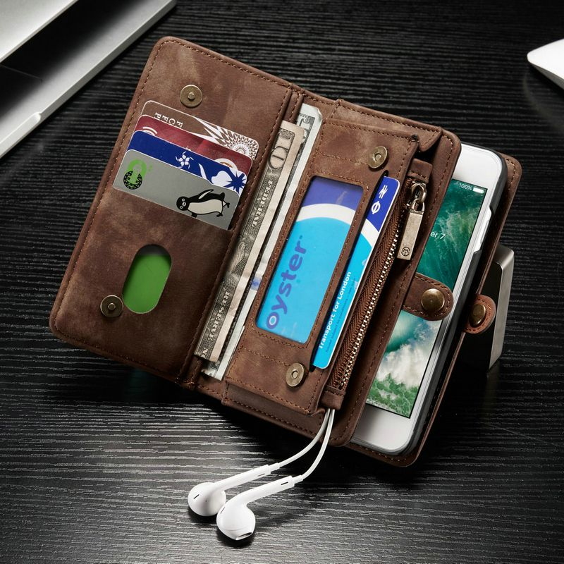 CaseMe Genuine Leather Case For iPhone X 7 6s 6 Plus <font><b>6Plus</b></font> 8 Flip Cover Second Layer Cowhide Multifunctional Wallet Phone Cases