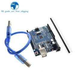 Tzt Uno R3 Papan Pengembangan ATmega328P CH340 CH340G untuk Arduino Uno R3 dengan Lurus Pin Header