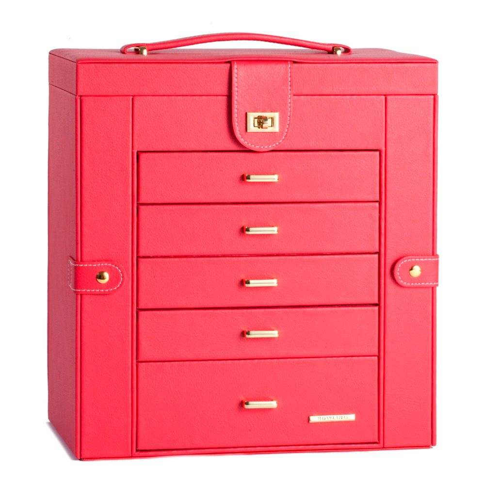 Red Extra Large Jewellery Box Gift Big Butterfly Cosmetic Mirror Leather Velvet Jewelry Cabinet Necklace Hook Ring Rolls PU Case