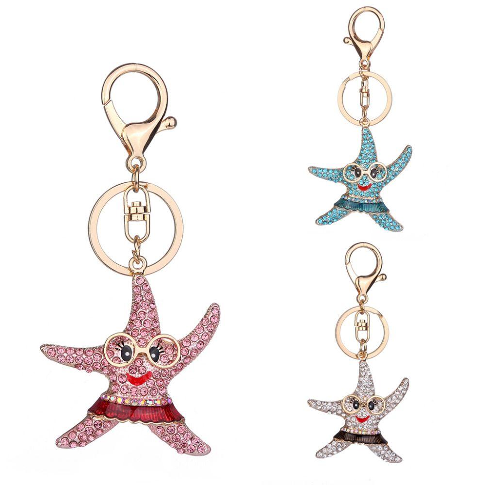 THINKTHENDO 1 STÜCK Mode Nette Verzierung Starfish Cartoon Legierung Strass Für Party Geschenke Tasche Accessary 3 Farbe
