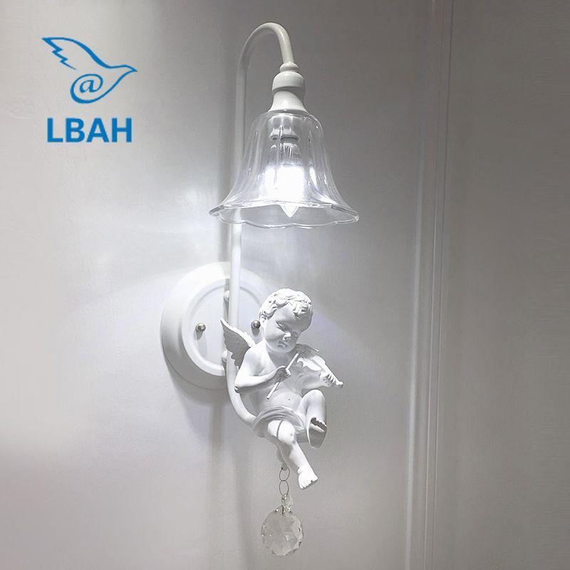 Harz schöne engel wand lampe moderne e14 kunst korridor lampe der kopf eines bett schöne engel kreative musik lampen und laternen