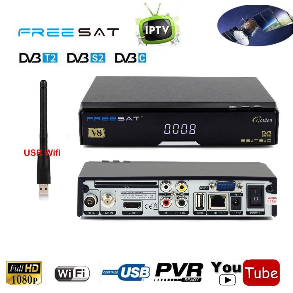 V8 Golden DVB-S2 DVB-T2 DVB-C Cable Combo IPTV Receptor Satellite Receiver Decoder Support AC3 Auido IKS Cccam SAT To IP TV box