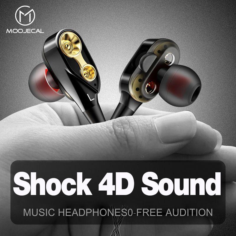 MOOJECAL Dual Driver Earphones In-Ear Stereo Bass earphones Sport Running HIFI kulakl k Earbuds For iPhone Huawei fone de ouvido