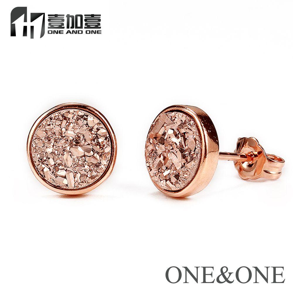EYIKA offre spéciale tendance cristal femmes bijoux naturel Druzy Stud boucle d'oreille ronde 6mm or Rose boucle d'oreille opale drusy pour femmes/fille