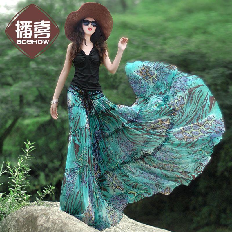 [ Aporia.King - BOSHOW ] Summer Original Design Women Fairy Tale Blue Green Chiffon Maxi Skirt