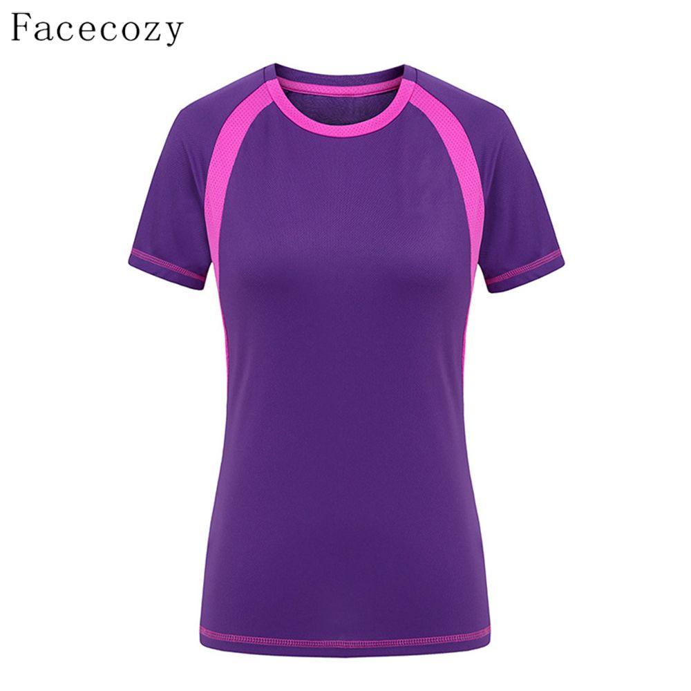 Facecozy Для женщин летние быстросохнущая Пеший Туризм Футболка женская PESCA Спорт Восхождение Отдых однотонная дышащая короткая футболка