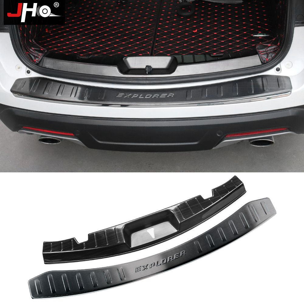 JHO Stahl Eingebautem Hinten Stoßstange Schutz Abdeckung Schutz Sill Platte Für Ford Explorer 2016-2019 2017 2018 Auto Styling zubehör