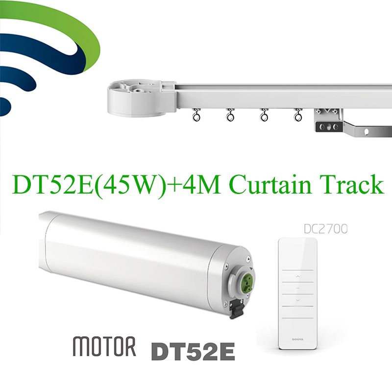 Ewelink Dooya Electric Curtain System DT52E 45W Curtain Motor with Remote Control+4M Motorized Aluminium Curtain Rail Tracks