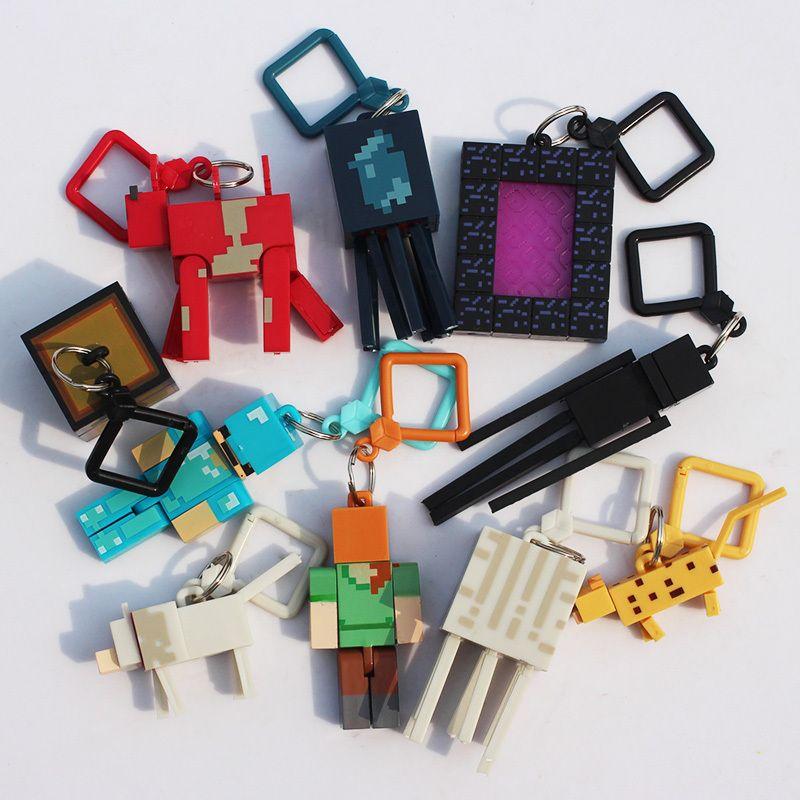 Hot! jouets 10 pcs/lot Génération 1/2/3 juguetes PVC Minecraft Jouets Micro Monde Action Figure Set Minecraft Porte-clés Anime Chiffres