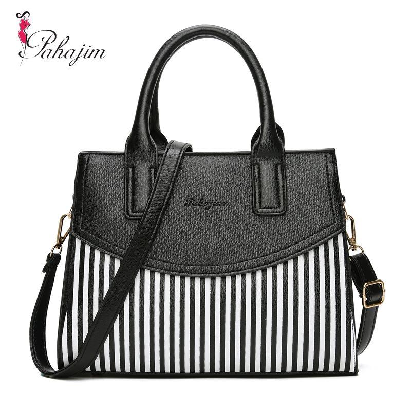 Pahajim Women Bag PU Leather Striped Crossbody Bags Lady Shoulder Bag Original Design Handbags Colorful Evening Bags Brand Tote
