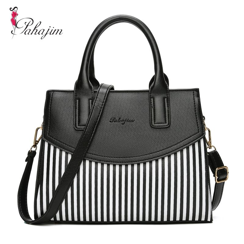 Pahajim Women Bag PU Leather Striped Crossbody Bags <font><b>Lady</b></font> Shoulder Bag Original Design Handbags Colorful Evening Bags Brand Tote