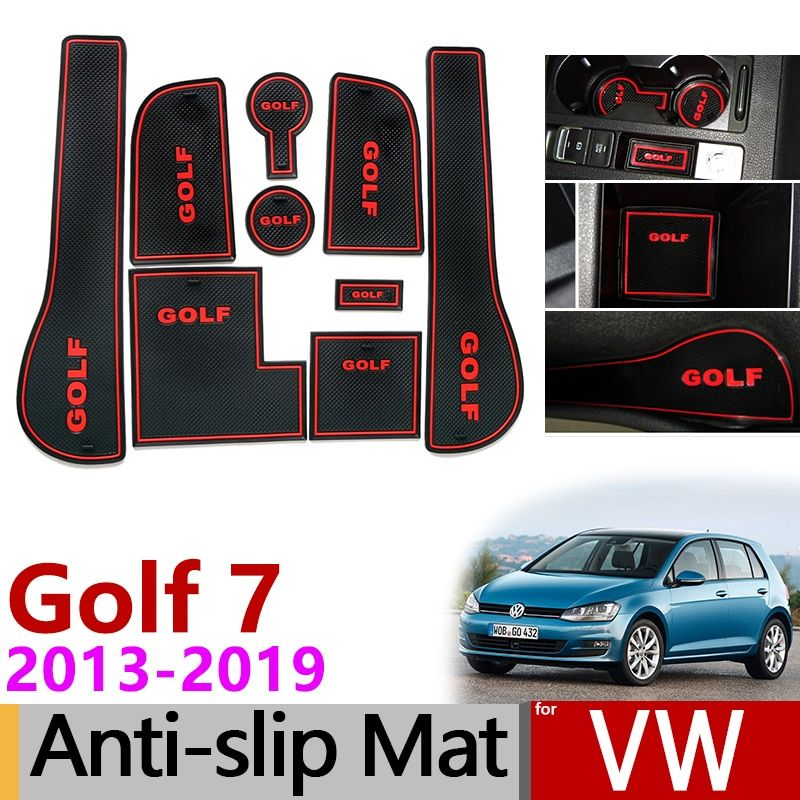 Anti-Slip Gate Slot Mat Rubber Coaster for VW Golf 7 MK7 2013 2014 2015 2016 2017 2018 2019 Volkswagen Accessories Car Stickers