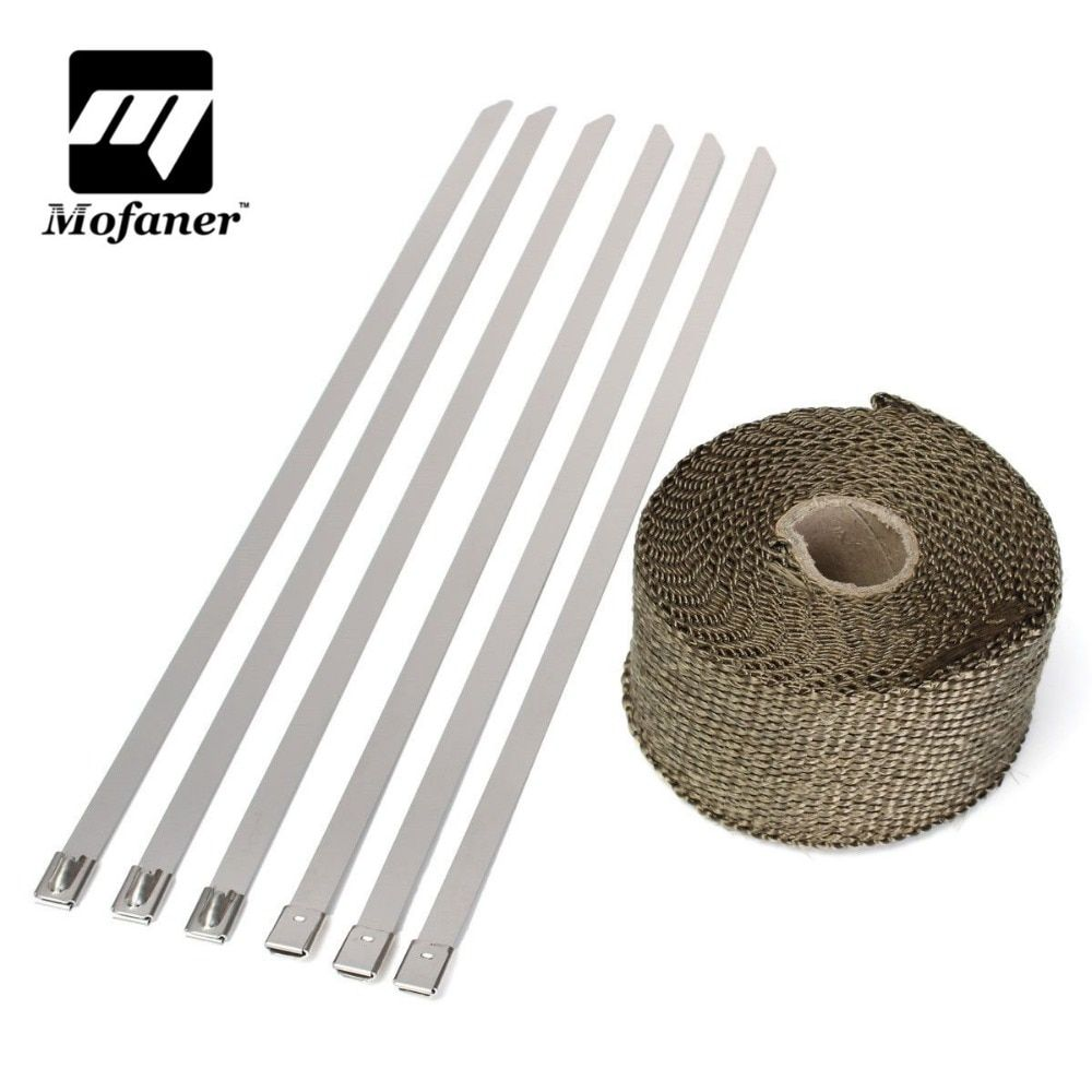 5M Titanium Motorcycle Exhaust Heat Wrap Roll Cable Exhaust Heat Insulation Pipe Tape With 6 Stainless Ties