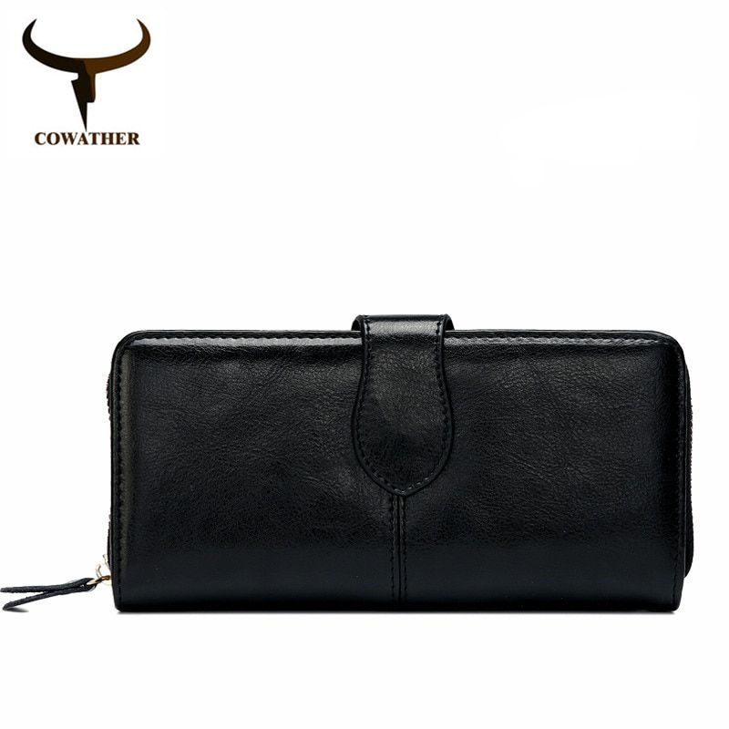 COWATHER 2017 Women purse New fashion cow <font><b>genuine</b></font> leather for women,long style design wallet 6 color quality original brand
