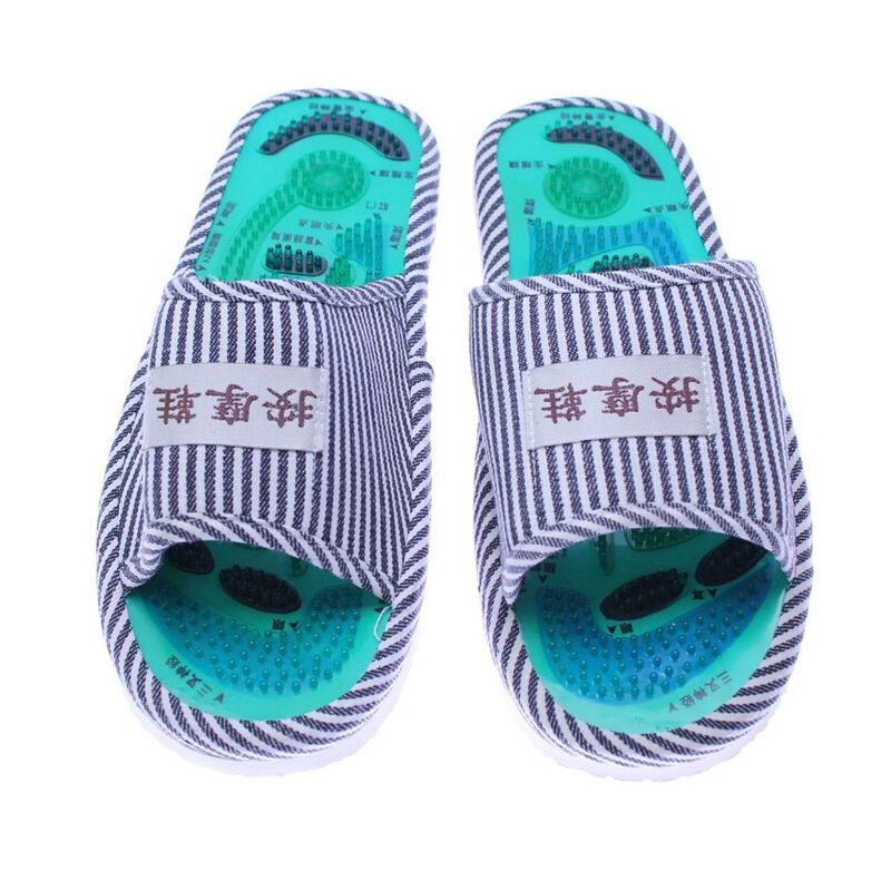 Men and Ladies Striped Health Care Foot Acupoint Massage feet massager Flat Slippers Relaxation One Pair Indoor Shoes