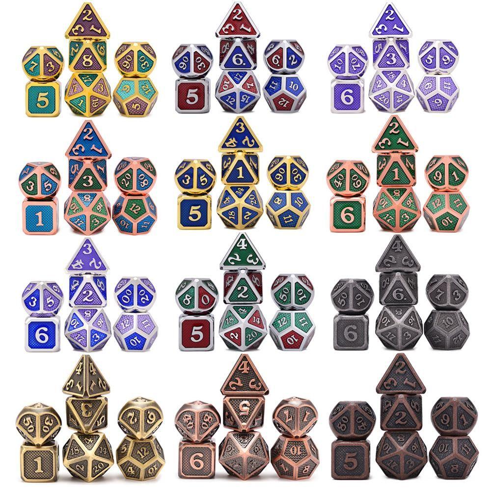 Nouveau Design Dragon balances métal dés 7 pièces avec pochette pour donjons et Dragon RPG MTG jeux de société D4 D6 D8 D10 D12 D20