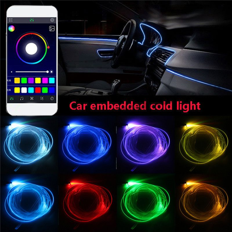4/5x 6.2M Sound Active RGB LED Car Interior Light Multicolor EL Neon Strip Light Bluetooth Phone Control Atmosphere Light 12V