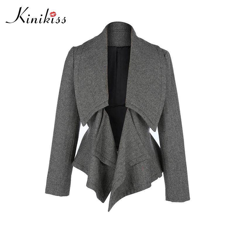 Kinikiss 2017 Autumn Elegant Jacket Women Casual Long Sleeve Button Short coat fashion plus size Lace-up bomber jacket femininas