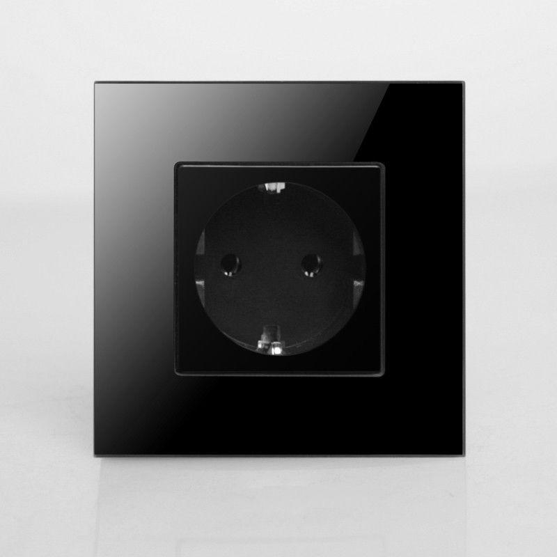Dos rond, prise de courant EU, Schuko, panneau en verre cristal noir, 16A EU Standard prise murale KP001EU-B