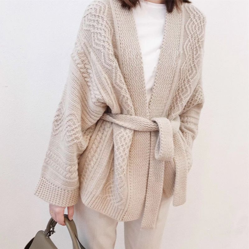 Autumn sweater female 100% pure cashmere cardigan belt sweater thickening 2018 spring new dress loose high-end jacket