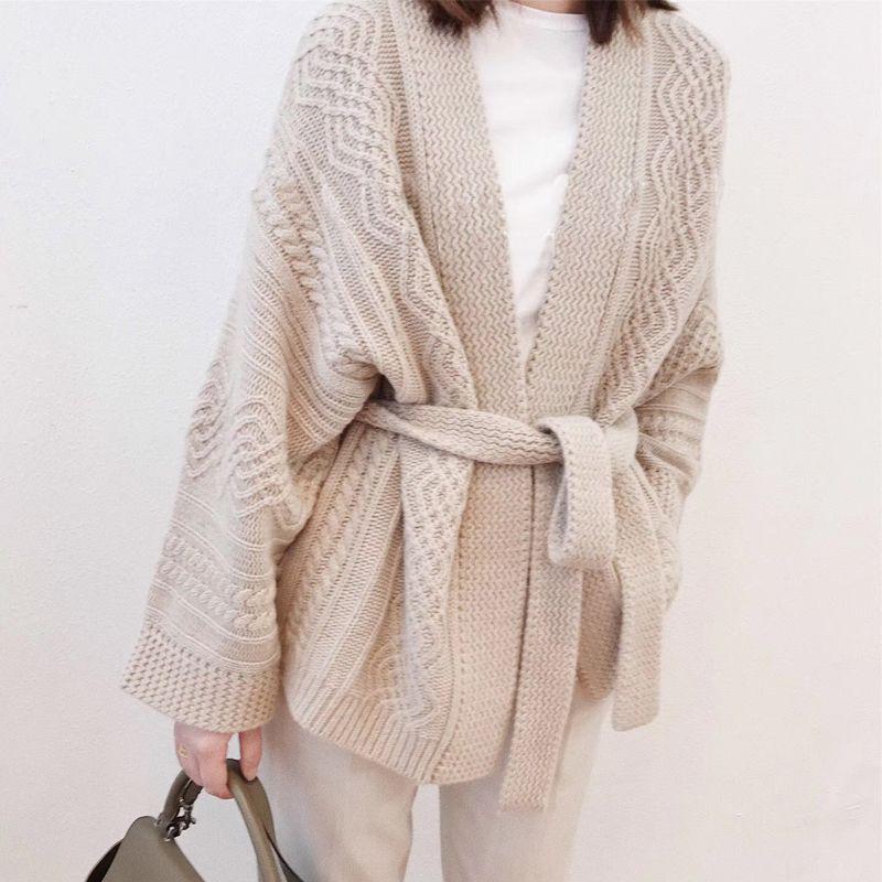 Otoño mujer suéter 100% puro Cashmere cardigan suéter cinturón engrosamiento 2018 primavera nuevo vestido suelto de gama alta chaqueta