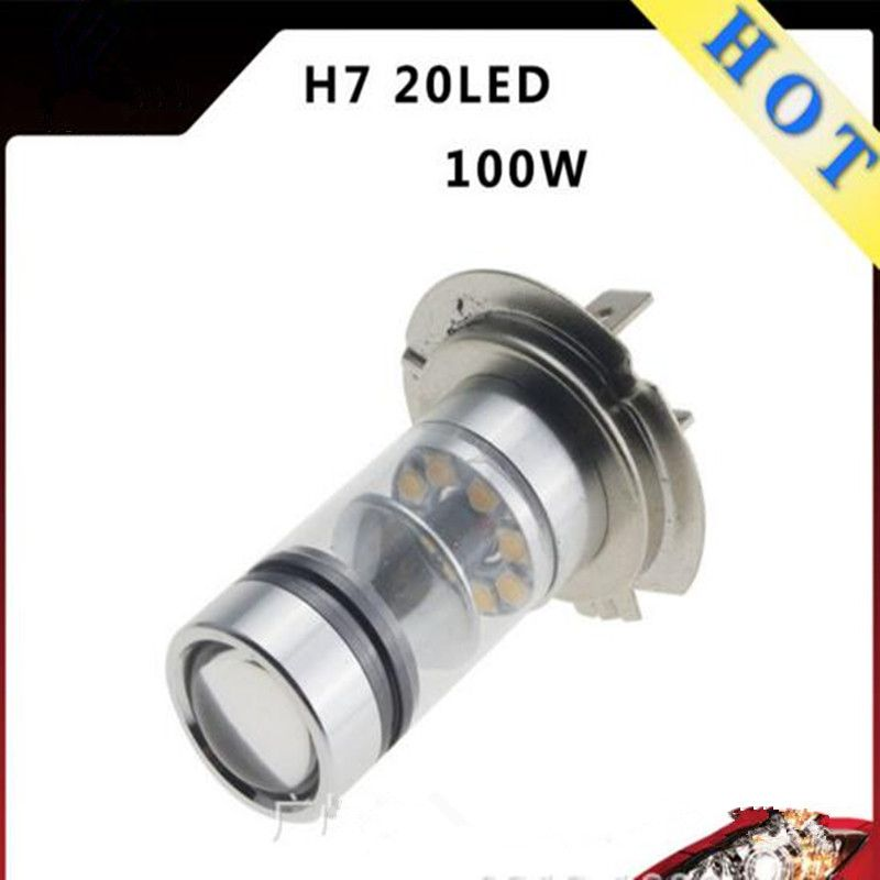 Newly 2Pcs Car Led Light Source H7 CREE Chips LED Projector bulb 100W Daytime Running Fog Light DRL High/Low Beam Driving Light