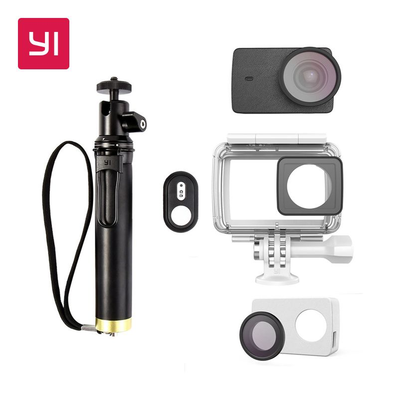YI 4K and 4K Plus Action Camera Accessories Kits Waterproof Case Selfie stick& Bluetooth Remote & Protective Lens & Leather case