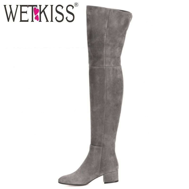 WETKISS New Arrive Superstar Over Knee Boots Women Fashion Winter Boots Woman Shoes Autumn Zip Thick Heel <font><b>Thigh</b></font> High Boot Female