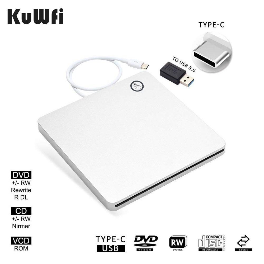 Automatic Inhalation USB-C External Drive Burner DVD CD VCD Reader RW Rewriter Writer Player For Laptop/Desktop Windows MAC OS