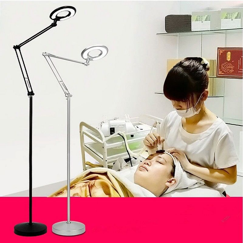 8X Magnifier LED Lamp Light with Floor Stand & Adjustable Swivel Arm For Manicure, Tattoo, Dental Beauty Salon Spa