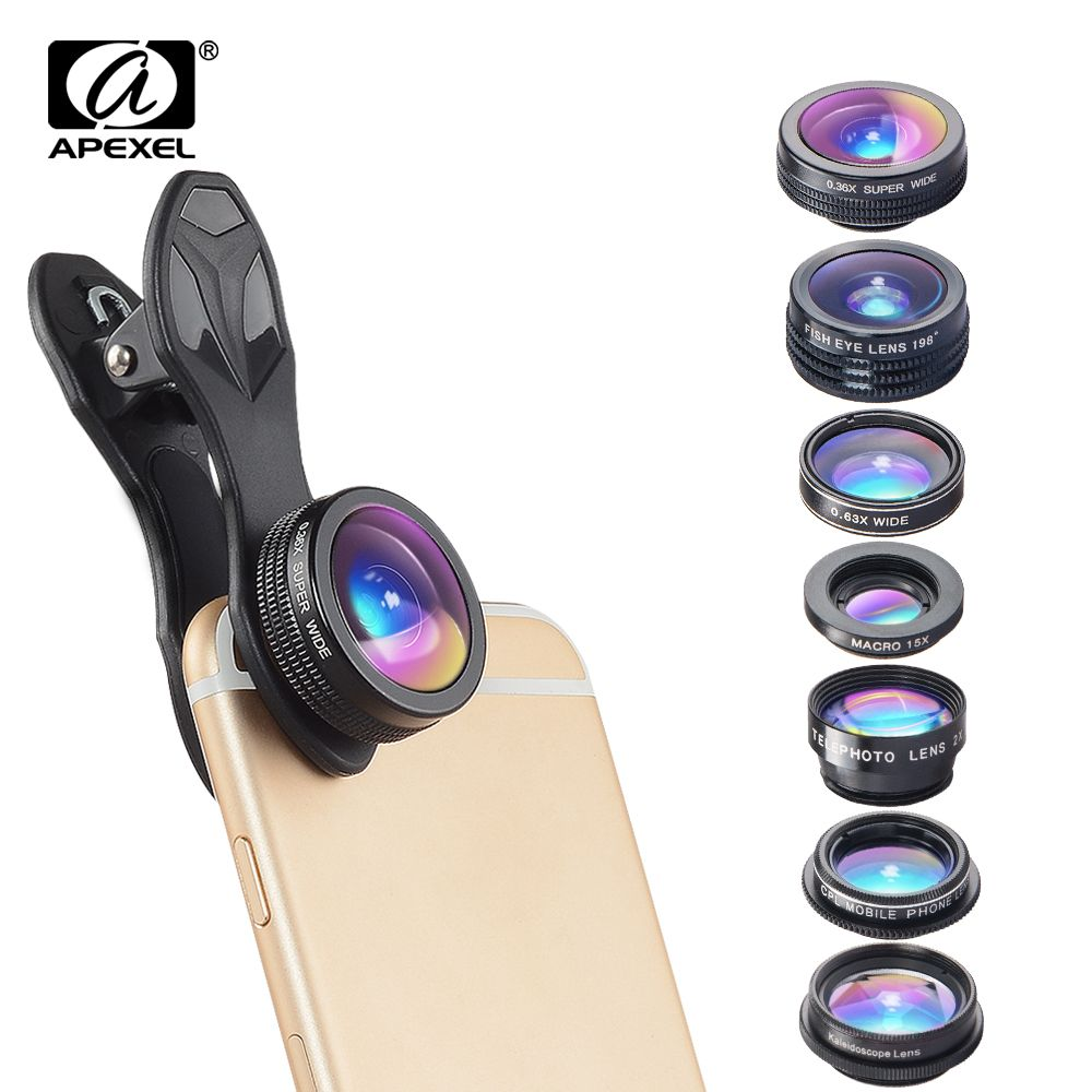 APEXEL 7 in 1 Kit Lens For Phone Fish eye lens Wide Angle macro Lens CPL Kaleidoscope zoom Lens for iPhone samsung xiaomi Phone