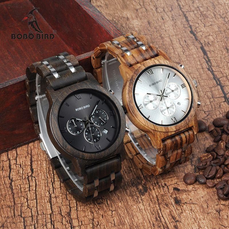 BOBO BIRD WP19 Wooden Mens Watches Newest Luxury Wood Metal Strap Chronograph Date Quartz Watch Luxury Versatile Timepieces