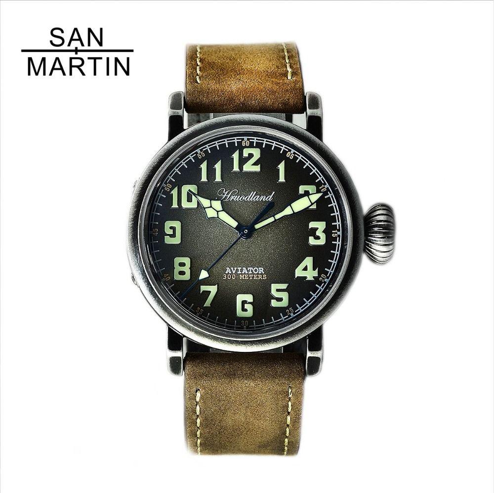 San Martin New Men's Pilot Retro Watch Stainlss Steel diving Watch 300m Water Resistant Swiss Movement Wristwatch Sapphire Glass