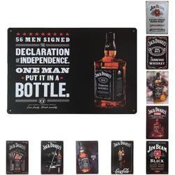 Rétro Vintage Vin Bière Whisky Marques Tin Signes Mur Art Peinture Jack Daniels En Métal Affiche Domicile Pub Bar Décoration R2