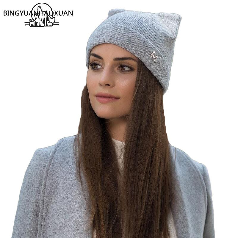 BINGYUANHAOXUA New Winter Brand Hats Knitted Hat With Ears Hot Cat Girl Woman High Fashion Wool Cap Women's Caps Gorros Cap
