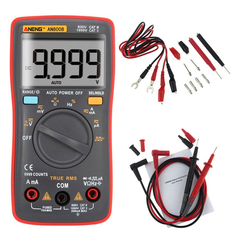 AN8008 True-RMS Digital Multimeter 9999 Counts Square Wave Backlight AC DC Voltage Ammeter Current Ohm Auto/Manual tester