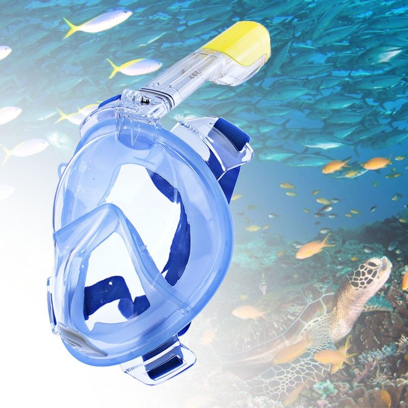 Full <font><b>Face</b></font> Snorkeling Masks Panoramic View Anti-fog Anti-Leak Swimming Snorkel Scuba Underwater Diving Mask GoPro Compatible