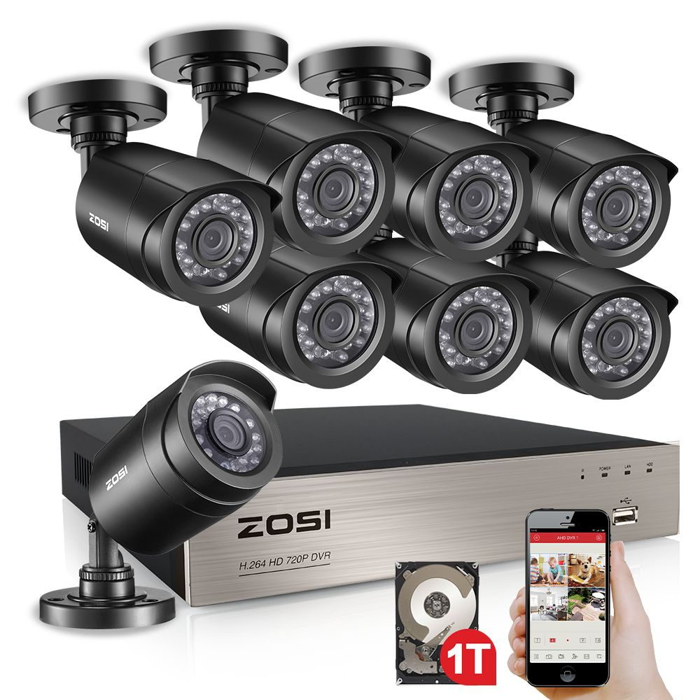 ZOSI 8CH CCTV System 1080N HDMI TVI CCTV DVR 8PCS 720P IR Outdoor Security Camera 1280 TVL Camera Surveillance System