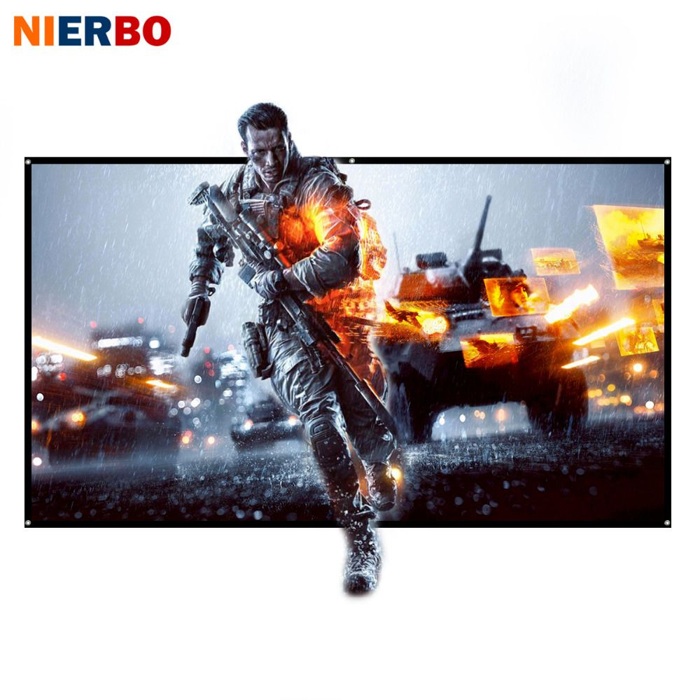 NIERBO Projector Screen 60 to 100 inch Rolled Up 16:9 Portable Screen for Projector Outdoor Indoor for Home Theater Full HD 3D