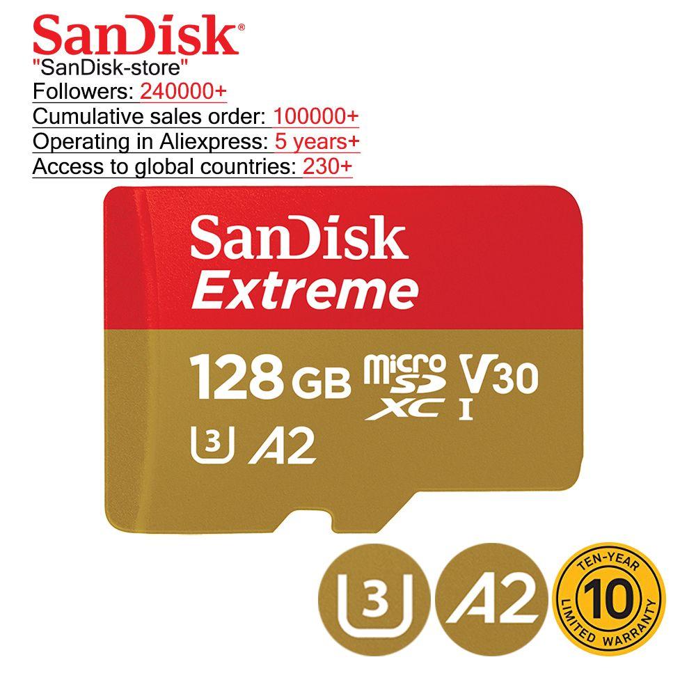 SanDisk original TF Micro carte SD U3 lecture carte mémoire pour Smartphone tablette prend en charge 4K enregistrement vidéo 32GB 64GB 128gb 256GB